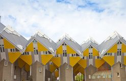 Sikt på berömda kubhus av Rotterdam, Nederländerna Arkivbilder