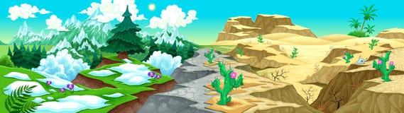 Sikt på berg och öken royaltyfri illustrationer