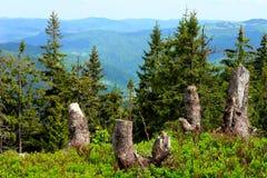 Sikt på bergpasserande Fotografering för Bildbyråer