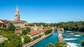 Sikt på Bern, huvudstad av Schweiz Royaltyfri Bild