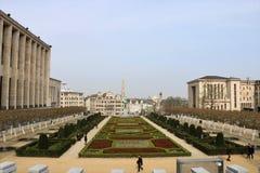 Sikt på Bryssel den gamla staden från de Mont des-konsterna Arkivbild