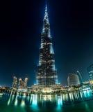 Sikt på Burj Khalifa, Dubai, UAE, på natten Fotografering för Bildbyråer