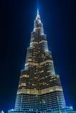 Sikt på Burj Khalifa, Dubai, UAE, på natten Arkivfoton