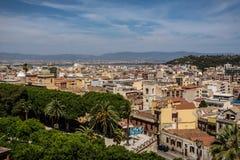 Sikt på Cagliari, Sardinia från över royaltyfri foto