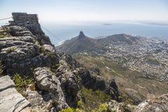 Sikt på Cape Town från överkanten av tabellberget Royaltyfri Foto