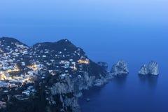 Sikt på Capri i Italien Royaltyfri Fotografi