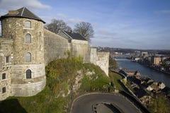 Sikt på citadell och Meuse River i Namur arkivbilder