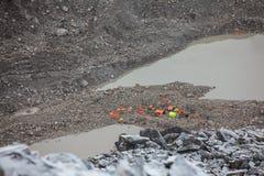 Sikt på delen av Everest basecamp i den Khumbu walleyen Arkivfoto