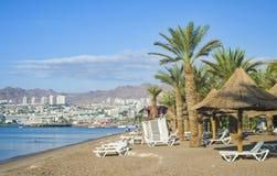 Sikt på den Aqaba golfen och Elaten, Israel Royaltyfri Bild