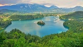 Sikt på den blödde sjön, Slovenien Arkivbilder