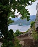 Sikt på den blödde sjön, Slovenija royaltyfri fotografi