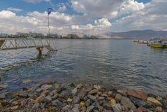 Sikt på den centrala stranden av Eilat Arkivfoto