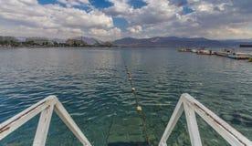 Sikt på den centrala stranden av Eilat Arkivbilder