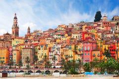 Sikt på den gamla delen av Menton, Provence-Alpes-skjul D ` Azur, Frankrike Arkivfoto