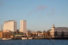 Sikt på den historiska delen av Rotterdam, Nederländerna Arkivbild