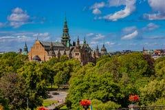 Sikt på den nordiska museum- eller Nordiska museeten på Djurgarden isl Royaltyfria Foton
