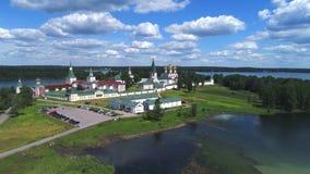 Sikt på den Valdai Iversky Bogoroditsky Svyatoozersky kloster Valdai Ryssland arkivfilmer