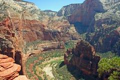 Sikt på den Zion kanjonen från ängel Landind royaltyfria bilder