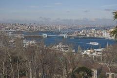 Sikt på det guld- hornet, Istanbul Arkivbilder