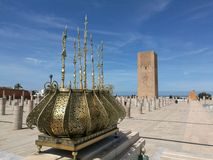 Sikt på det Hassan tornet - Marocko Arkivbilder