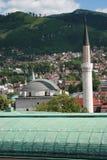 Sikt på en gammal del av Sarajevo Fotografering för Bildbyråer