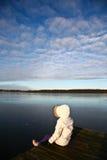Sikt på en härlig sjö i Skandinavien i Danmark Arkivfoton