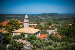 Sikt på en kyrka på Zakynthos Fotografering för Bildbyråer