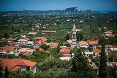 Sikt på en liten stad på Zakynthos Royaltyfri Bild