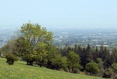 Sikt på ett gröna fält och Dublin på en dimmig dag royaltyfri bild