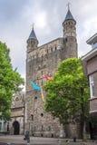 Sikt på fasaden av basilikan vår dam i Maastricht - Nederländerna fotografering för bildbyråer