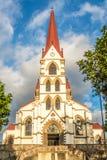 Sikt p? fasaden av kyrkan v?r dam av f?rskoning i San Jose - Costa Rica arkivbilder