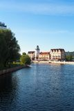 Sikt på fiskeläget, Kaliningrad Royaltyfri Foto