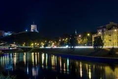 Sikt på floden på Vilnius Arkivfoto