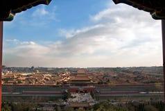 Sikt på Forbidden City i Peking, Kina Gugong royaltyfri bild