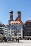 Sikt på Frauenkirchen från Marienhofen, Munich, Tyskland, 20 Arkivbilder