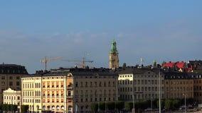 Sikt på Gamla Stan i Stockholm gammal stad sweden lager videofilmer