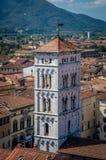 Sikt på gammal stad med basilikan av San Michele från torn för klocka för Torre dellemalm i Lucca italy arkivbild