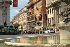 Sikt på gatan från Fontana delle Naiadi i Rome, Italien Royaltyfria Foton