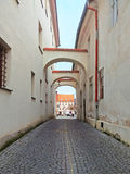Sikt på gatan i Ceska Lipa Arkivbilder
