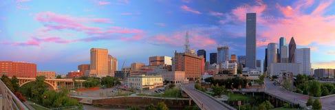 Sikt på horisont av i stadens centrum Houston royaltyfri foto