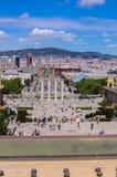 Sikt på i stadens centrum Barcelona Spanien Royaltyfria Bilder
