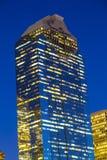 Sikt på i stadens centrum Houston vid natt Arkivfoto