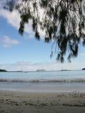 Sikt på kryssningskeppet från stranden i ö av Pines Arkivbild