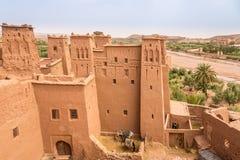 Sikt på Ksaren i Kasbah Ait Benhaddou - Marocko Fotografering för Bildbyråer
