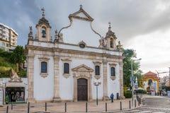 Sikt på kyrkan av Espirito Santo i Leiria - Portugal Fotografering för Bildbyråer