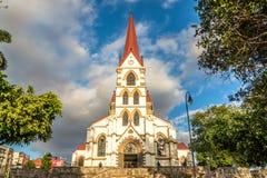 Sikt p? kyrkan v?r dam av f?rskoning i San Jose - Costa Rica royaltyfri bild