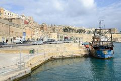 Sikt på La Valletta, huvudstaden av Malta Arkivfoton