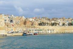 Sikt på La Valletta, huvudstaden av Malta Arkivbilder