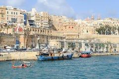 Sikt på La Valletta, huvudstaden av Malta Royaltyfria Foton