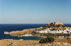 Sikt på Lindos, Rhodes, Grekland Fotografering för Bildbyråer